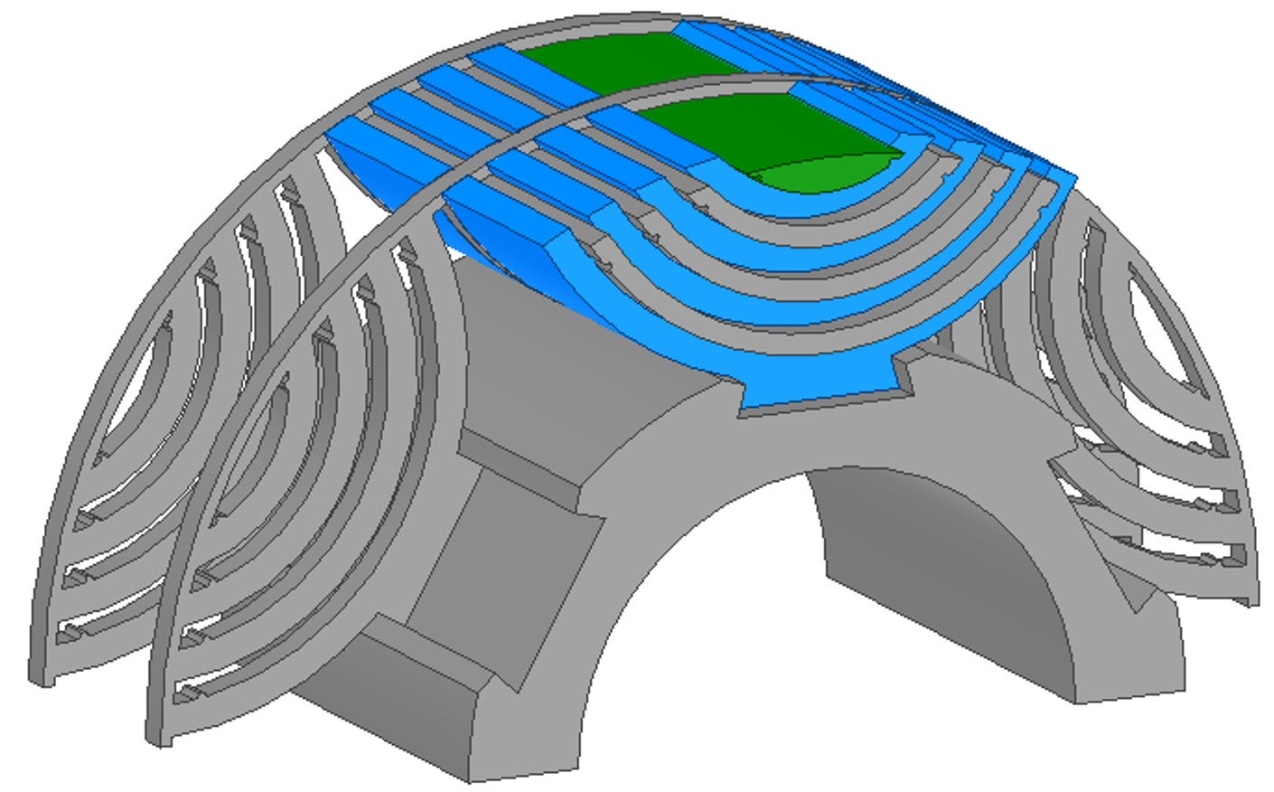 Rotor structural design. Blue pieces are rotor laminations. Grey and green parts are non-magnetic light strong supporting materials